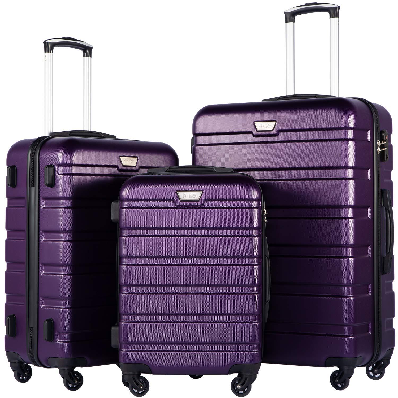 COOLIFE Hard Case Trolley Trolley en ABS avec Serrure TSA et Valise /à 4 roulettes Cabine Valise Valise Moyenne Grande Valise Violet, Set DE 3
