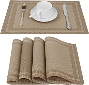 Placemat, Crossweave Woven Vinyl Non-Slip Insulation Placemats, Heat-Resistant Stain Resistant Anti-Skid Washable PVC Table Mats, Easy to Clean, Set of 4 (Beige)