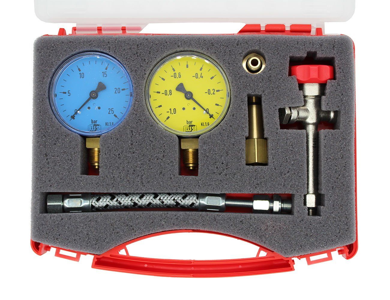 Bomba de prueba malet/ín P 1/completamente equipado en malet/ín de pl/ástico sin pastilla para ajustar la /ölpumpe
