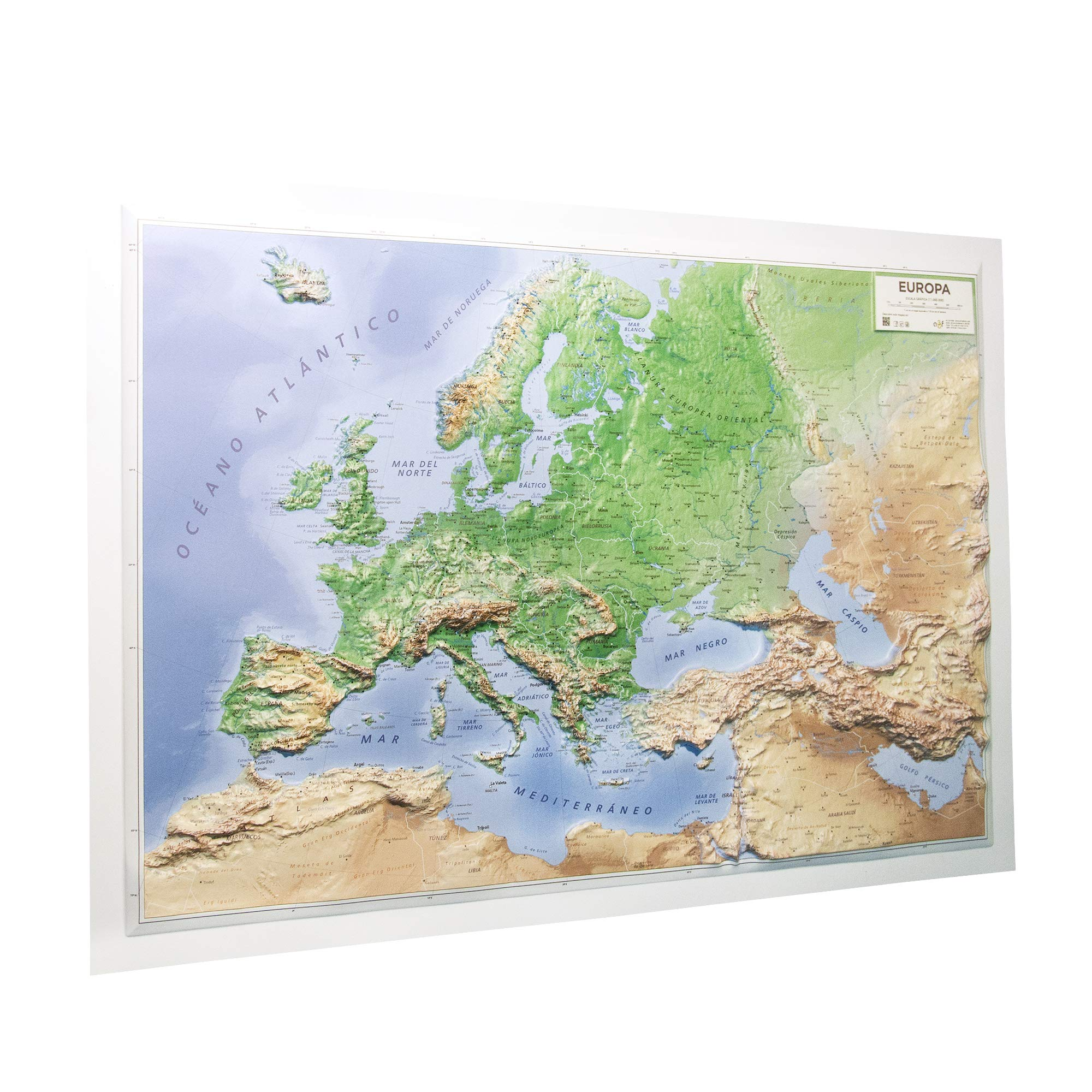 Mapa en relieve de Europa físico: Escala 1:11.000.000: Amazon.es: All 3D Form S. L.: Libros