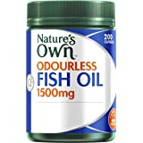 Nature's Own Odourless Fish Oil 1500mg - Source of Omega-3 - Maintains Wellbeing - Supports Healthy Heart & Brain, 200 Capsules