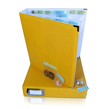 Amazon.com: Craft Storage + Bead Organizer Gold Album by KIT XCHANGE for Planner Supplies Beads and Scrapbooking: Arts, Crafts & Sewing
