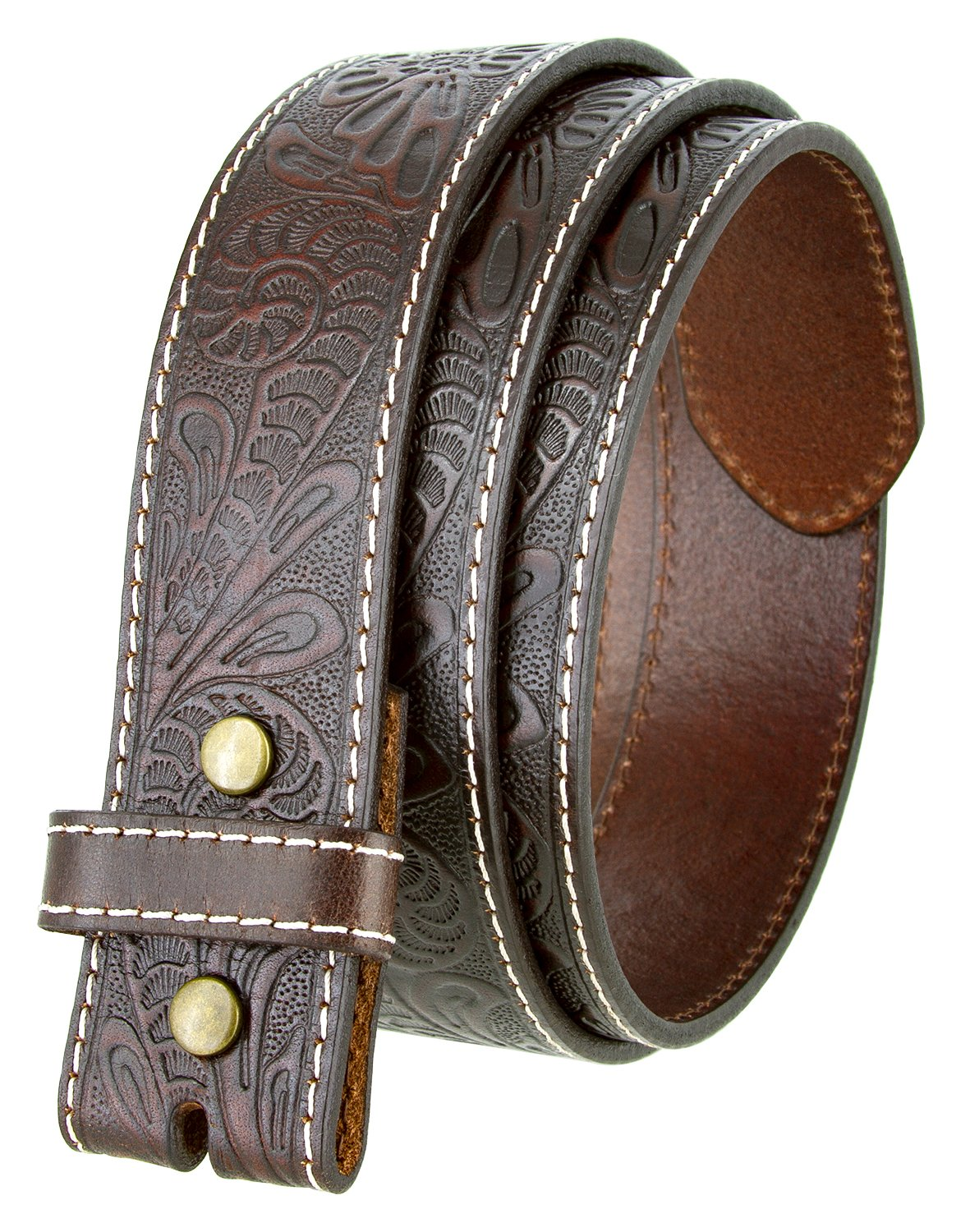 Western Floral Engraved Tooled Leather Belt Strap 1-1/2 (Brown,34)