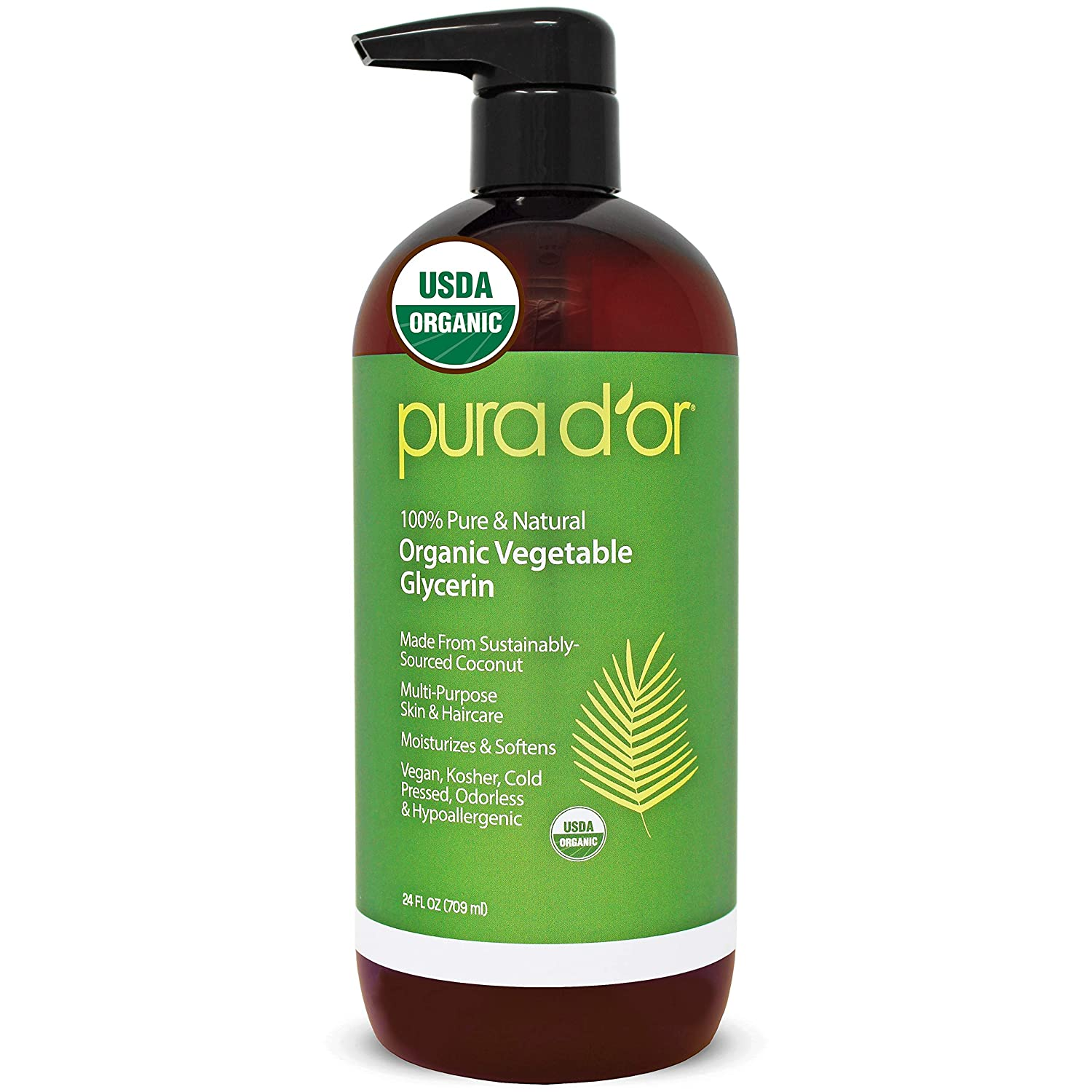 PURA D'OR Organic Vegetable Glycerin (24oz) Derived from Coconut, 100% Pure Premium Grade, Clear & Odorless, Non-GMO, USP Grade, Kosher, Vegan, Cold Pressed, Hair, Skin & DIY Base (Packaging may vary)