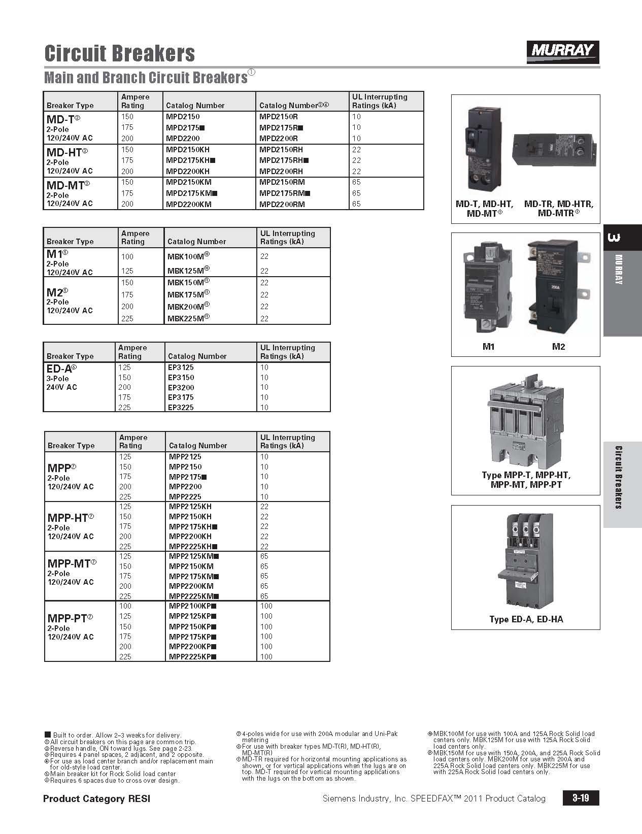 Murray Mpd2200rh 22 Kaic Rated 200 Amp Plug In Breaker 40892006513 Select Wiring Diagram