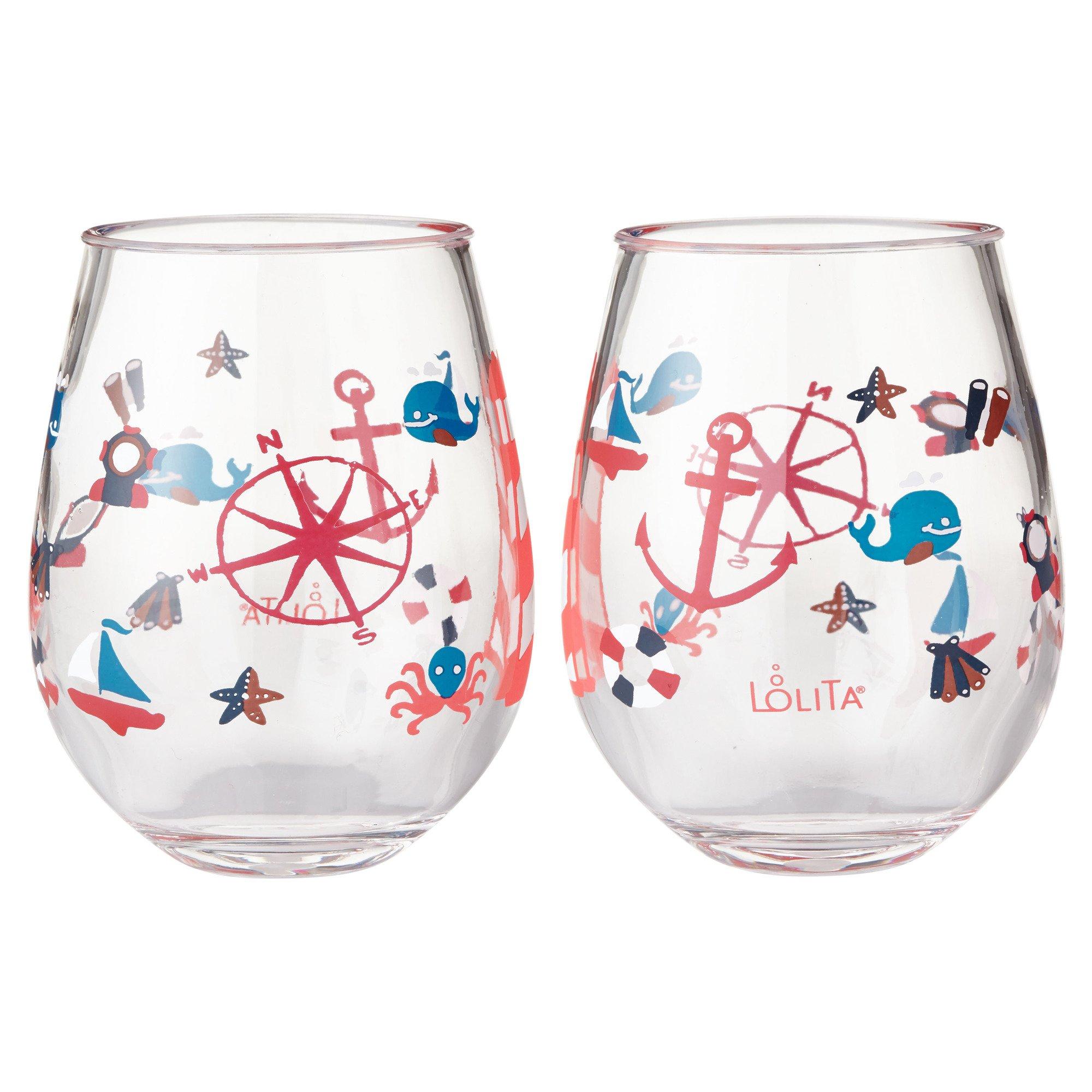 Enesco Designs by Lolita Maritime Acrylic Stemless Wine Glasses, Set of 2, 17 oz.