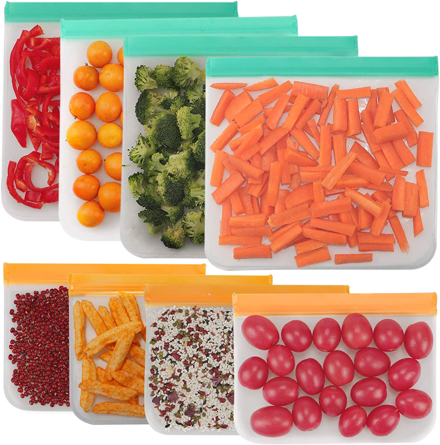 Reusable Food Storage Bags- 8 Pack Reusable Freezer Bags(4 Reusable Gallon Bags + 4 reusable Sandwich Bags), Extra Thick Leakproof Ziplock Bags for Meat, Fruit and Veggies, BPA FREE