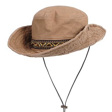 WITHMOONS Boonie Bush Hat Aztec Pattern Wide Brim Side Snap KR8752 (Beige) ca77baf49f4