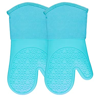 Silicone Oven Mitts with Quilted Cotton Lining - Professional Heat Resistant Kitchen Pot Holders - 1 Pair (Turquoise - 13.7 Inch Long, Oven Mitts)