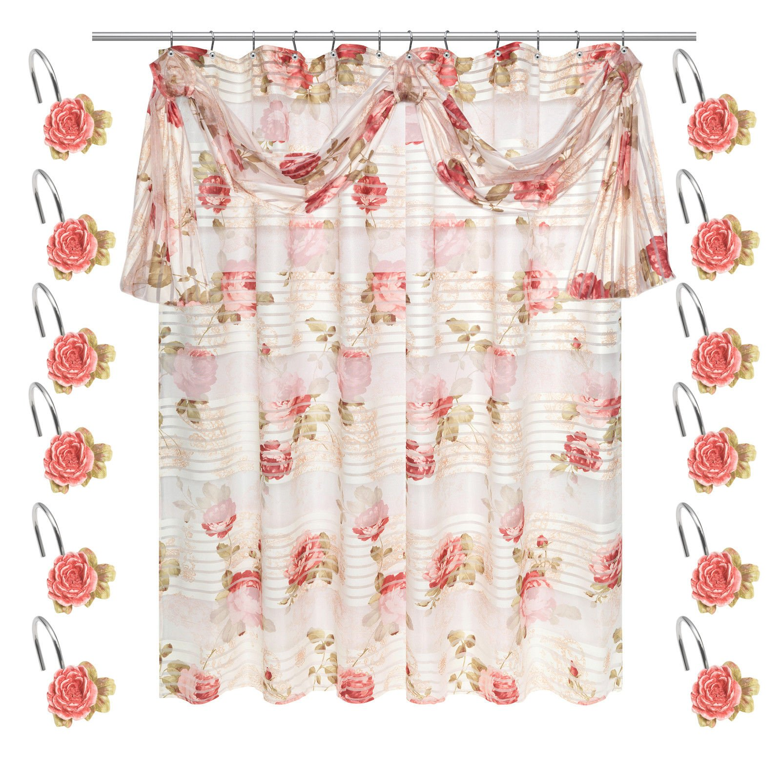 (Rod Not Include)Pink Color 70'' x 72'' Shower Curtain w/12 Hooks Bathroom Bathtub Accessories Liners Decorative Scene Screen Partition Spindle Fabric Contemporary Hand Wipe Machine Wash Home Utility