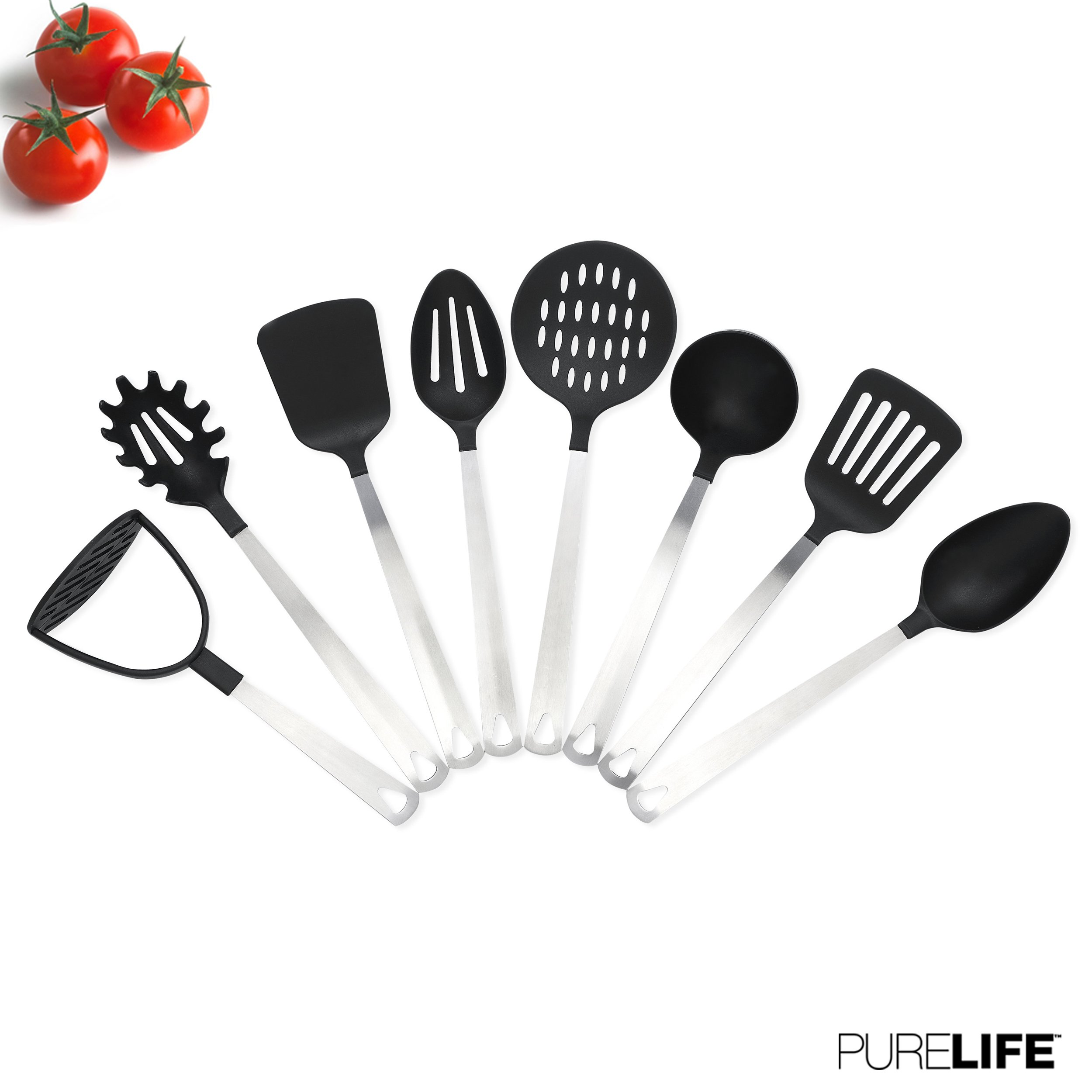 Kitchen Utensil Set 8 Pc by PureLife - Stainless Steel Cooking Set W/Nylon Heat Resistant | Include Spaghetti Server, Potato Masher, Serving Spoon, Turner, Ladle, Skimmer, Spatula & Slotted Spoon