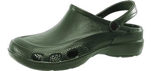 Ladeheid Zuecos Crocs Sanitarios Zapatos de Seguridad Verano Unisex Adulto LA-885 (Verde2909,