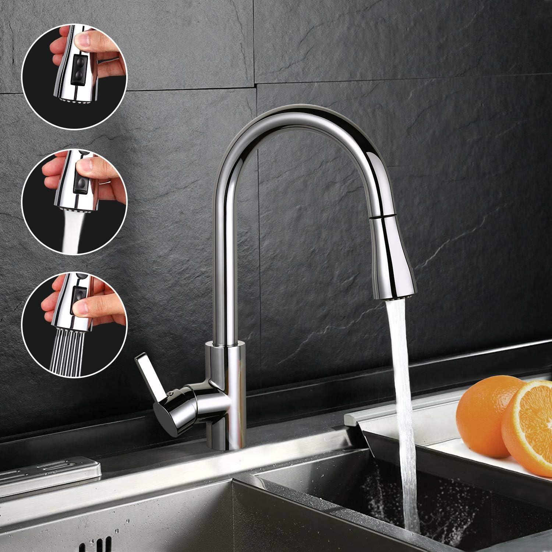 monomando cromado grifo para lavabo con boquilla de 360 /° y 3 modos de pulverizaci/ón grifo de cocina sin plomo de acero inoxidable DALMO Grifo de cocina extractor de spray