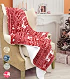"""Catalonia Christmas Sherpa Throw Blanket,Super Soft Warm Fuzzy Comfy Lambswool Snowflake Blankets Reversible Plush Fleece Christmas Theme Throws 50""""X60""""Red"""