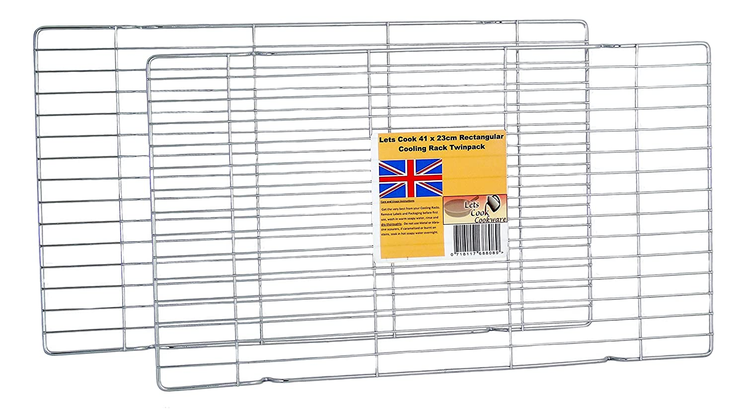 41 x 23cm Rectangular Cooling Rack Twin Pack by Lets Cook Cookware
