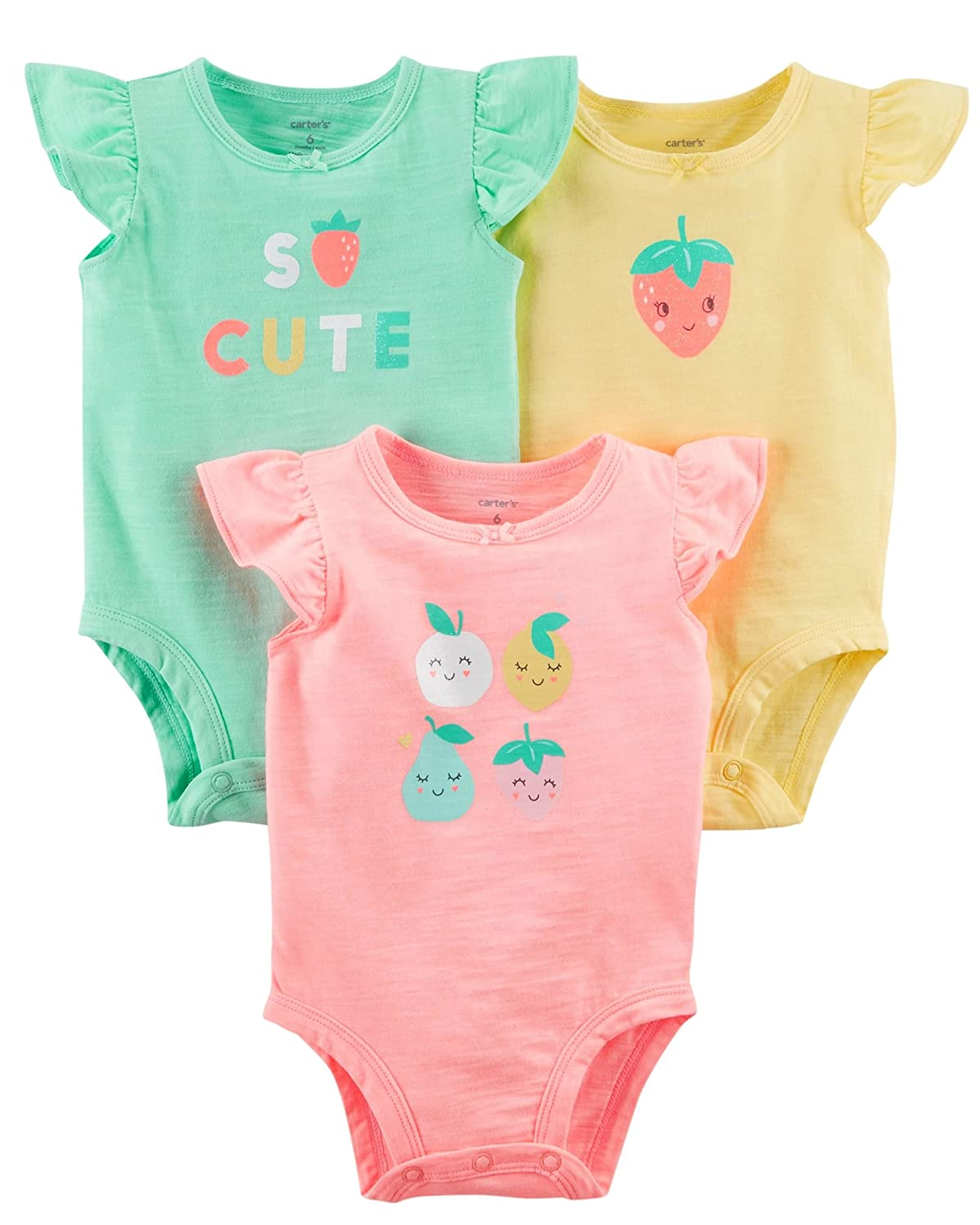 Carter's Baby Girls' 3-Pack Heart Flutter Sleeve Bodysuits