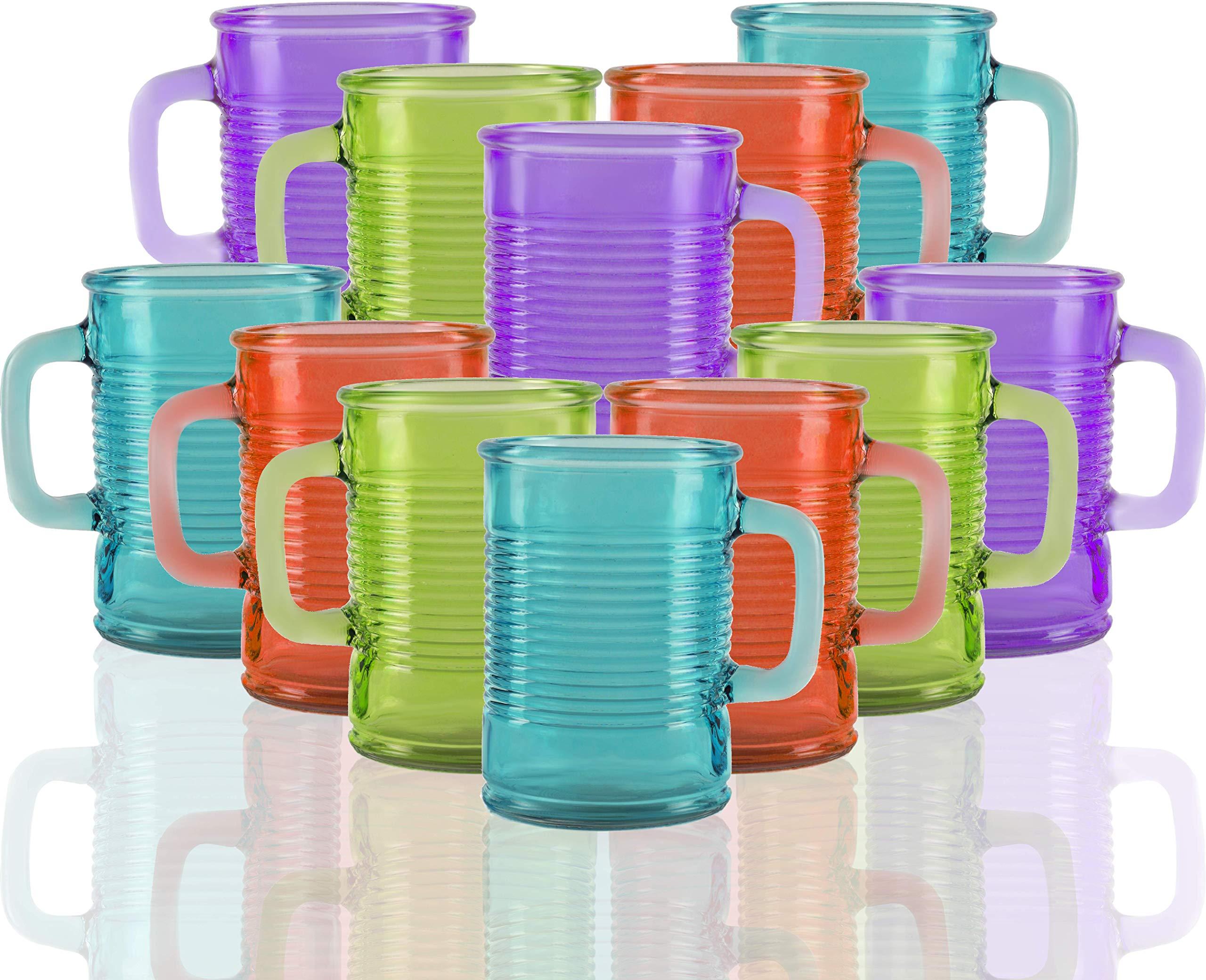 Circleware Huge Set of 12 Multi Colors Mason Jar Mugs in Fun Can Shaped Glasses, Farmhouse Decor Glassware Drink Tumblers for Water, Beer & Cold Beverages, 17.5 oz, Aqua, Green, Orange, Purple
