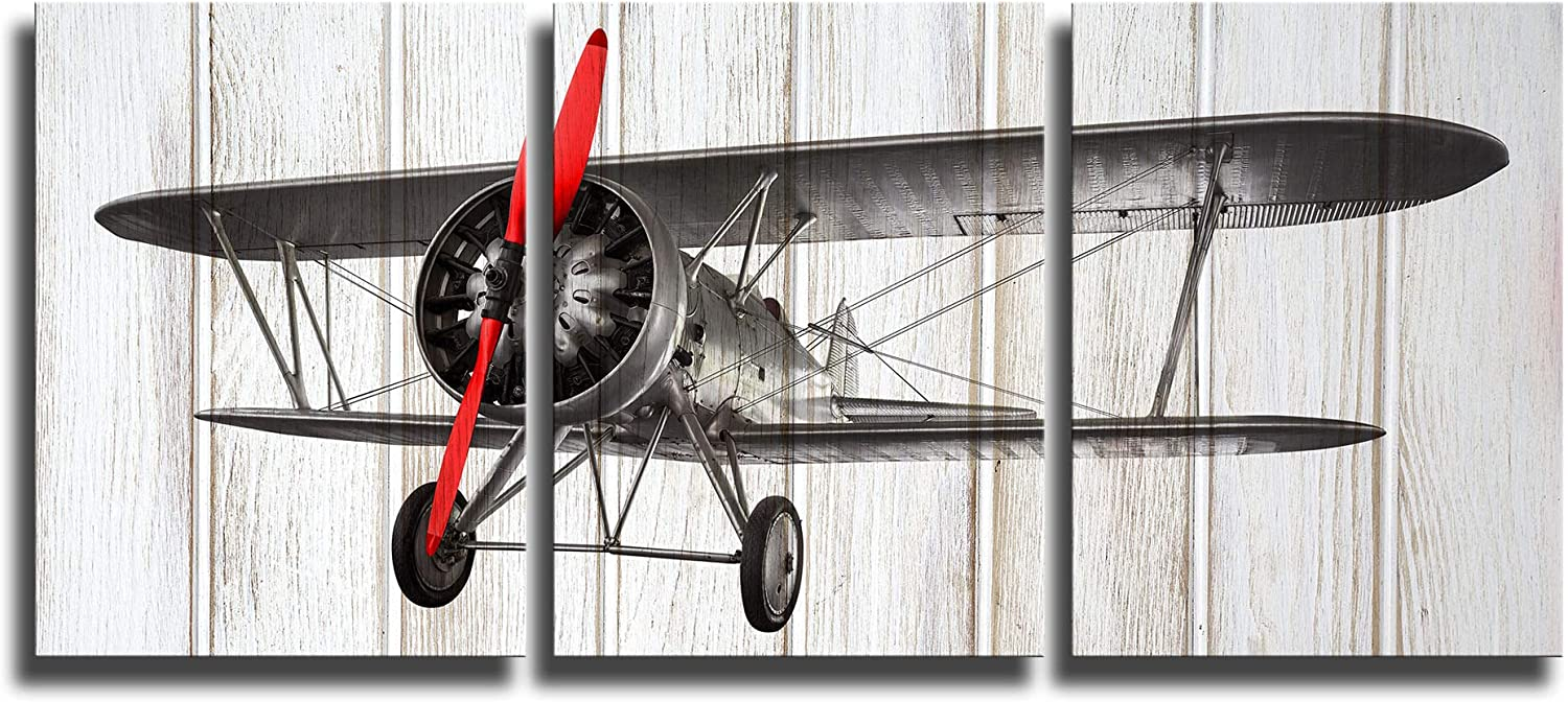 KLVOS 3 Piece Airplane Wall Art Decor for Boy Room on Wooden Background Vintage Living Room Decor Gallery Wrap Framed and Ready to Hang 12inch x 16inch x 3 panels (Propeller Aircraft)