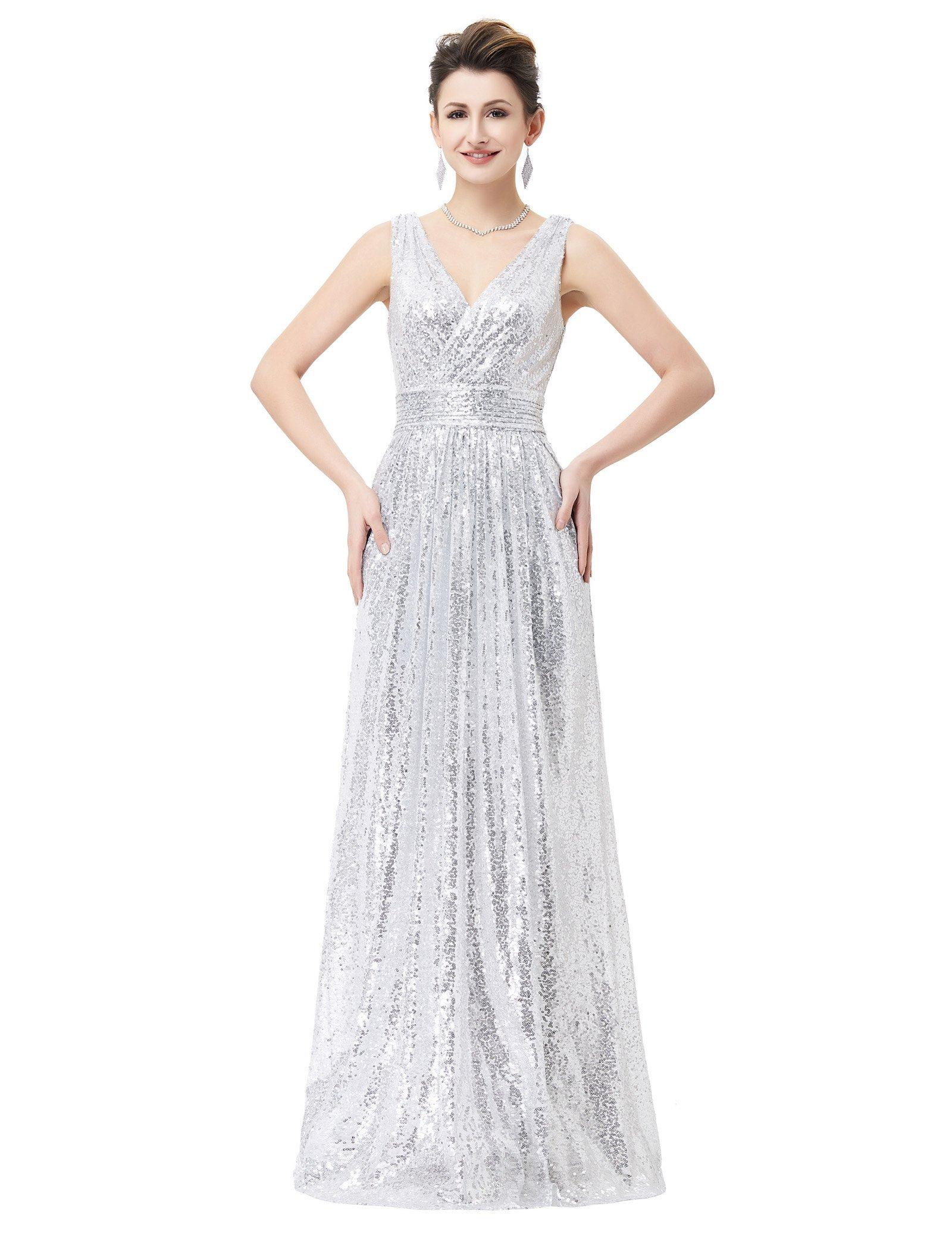 Pleated Waist Dress Women Sequin Bridesmaid Dress Silver Size 14 KK199