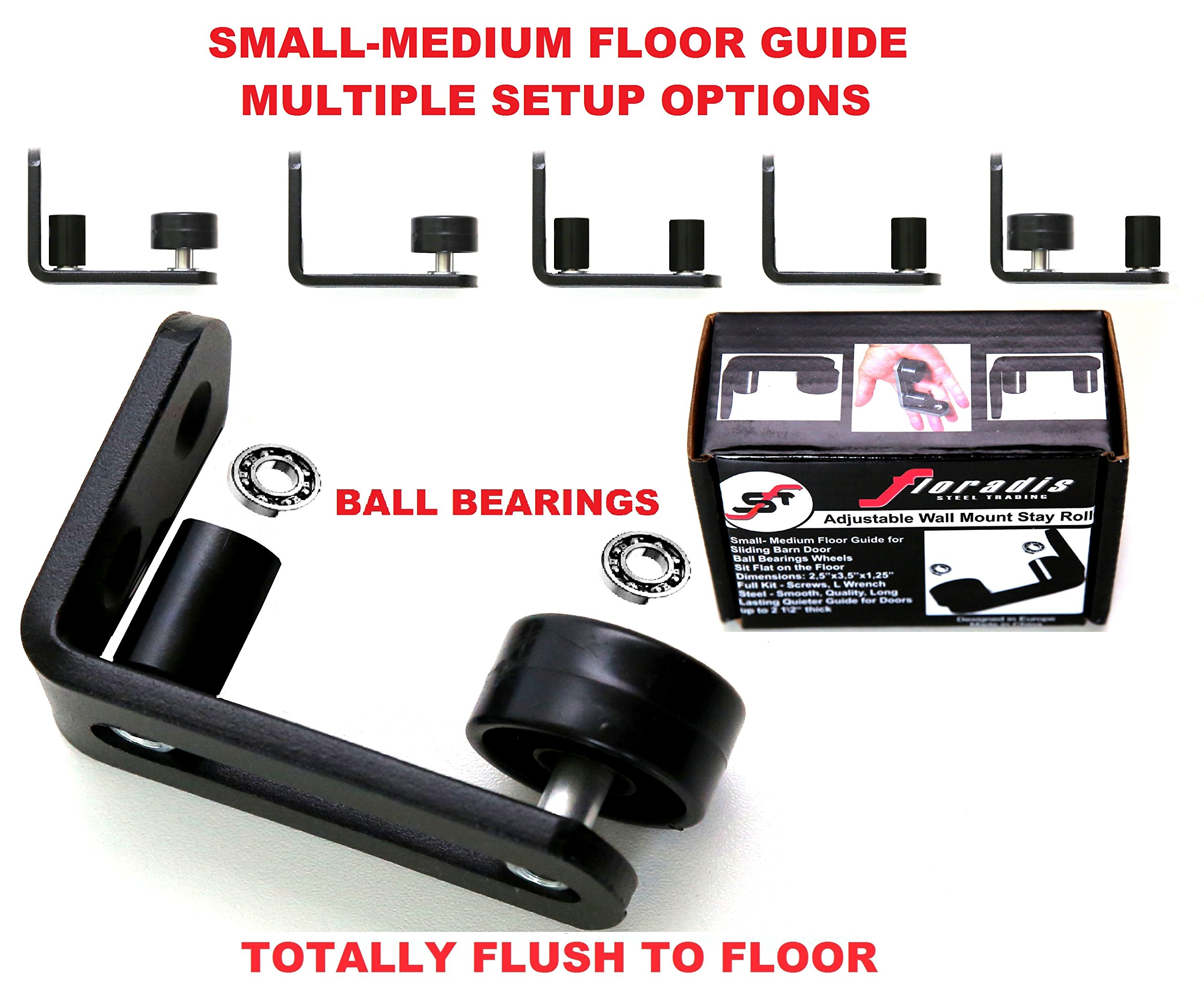 NEW * FLORADIS SMALL STAY ROLLER FLOOR GUIDE for BOTTOM of SLIDING BARN DOORS / SITS FLUSH to the FLOOR/ ULTRA SMOOTH FULLY ADJUSTABLE MULTIPLE SETUPS WALL MOUNT STOP GUIDES/ BALL BEARINGS WHEELS by Floradis Steel Trading (Image #2)