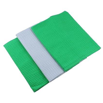 Paños de algodón 100% Lote de 3 Suela de pique en Uni gris y verde