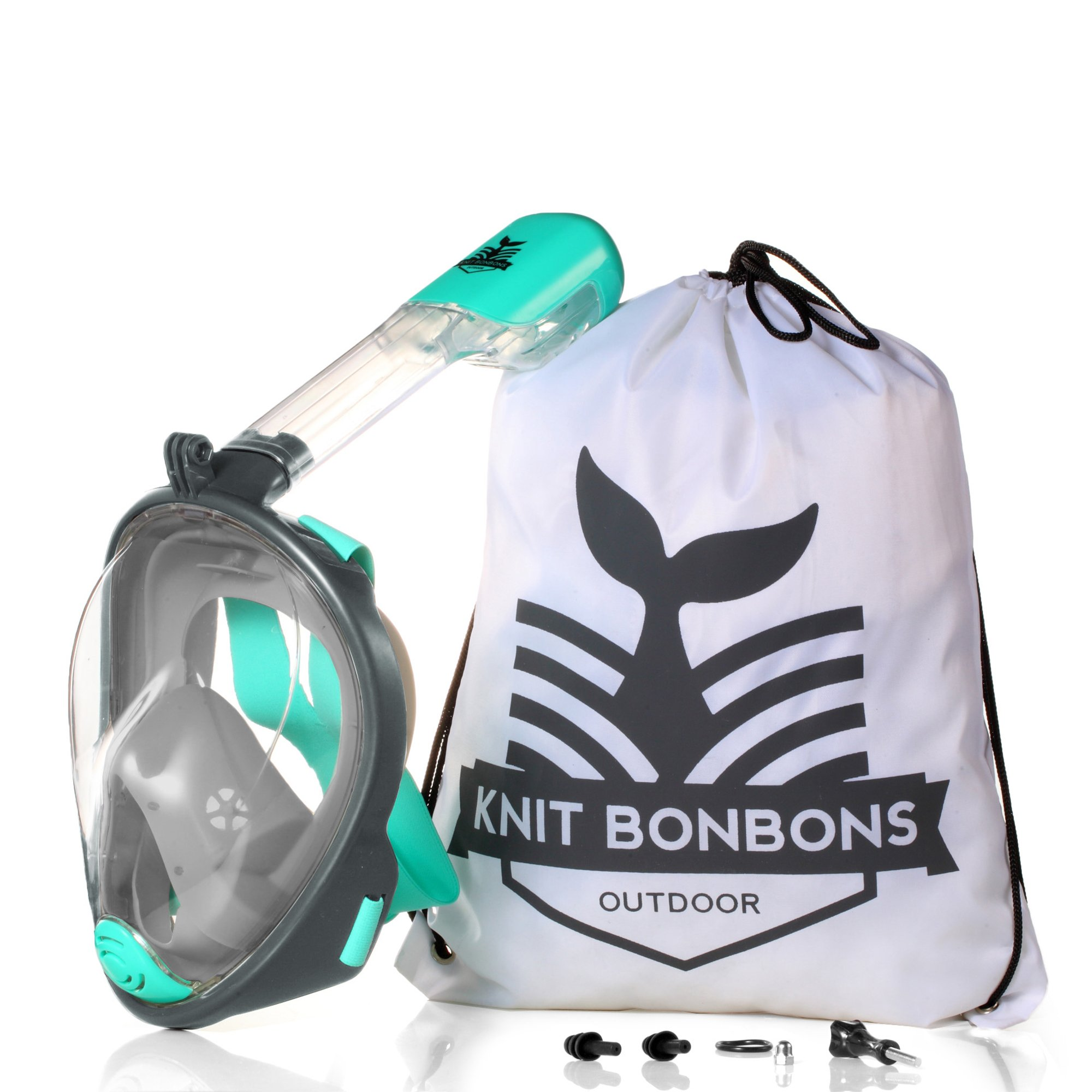 180° Panoramic View Snorkel Mask Full Face Scuba, Dive and Swim Set for Kids Youth Adult Women Men | Easier Breath with Dry Anti-Fog Anti-Leak for Travel Beach Sea Underwater Swimming Pool by Knit Bonbons Outdoor