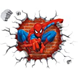 3D Spider Man Cross Wall Stickers for Kids Bedroom Living Room Nursery Background Removable Decor Decals