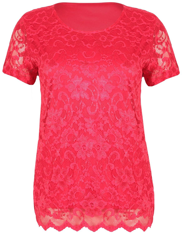 Womens Short Sleeve Ladies Stretch Round Scoop Neckline Lined Floral Lace Blouse T-Shirt Top Plus Size Purple Hanger Curvy