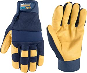 Men's Genuine Leather Palm Work Gloves, Water-Resistant HydraHyde, Large (Wells Lamont 3207L),Blue