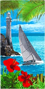 Lighthouse and Sailboat Beach Towel 30 x 60 inch 100% Cotton