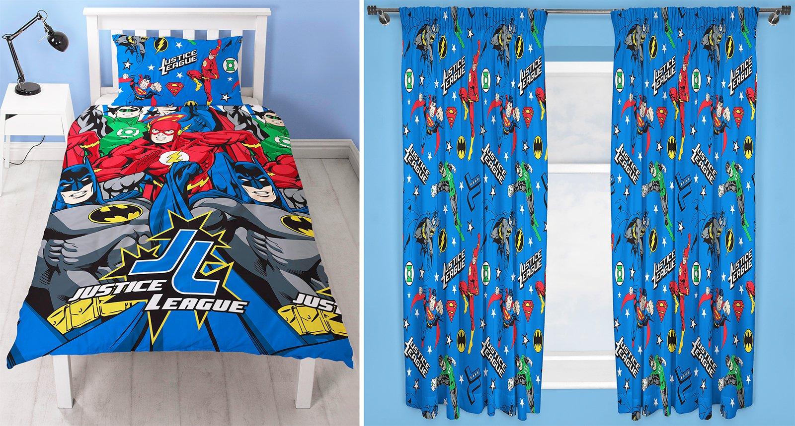 Justice League Inception Single Duvet Set and Matching 66'' x 72'' Drop Curtains