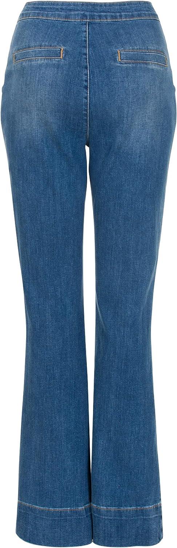 Mujer Modelo Expuesto Pantalones Vaqueros Para Mujer Talla 34 Hasta 46 Steps Maya Denim Azul Denim Cintura Alta Botones Dorados De Dos Hileras Ropa Aceautocare Net