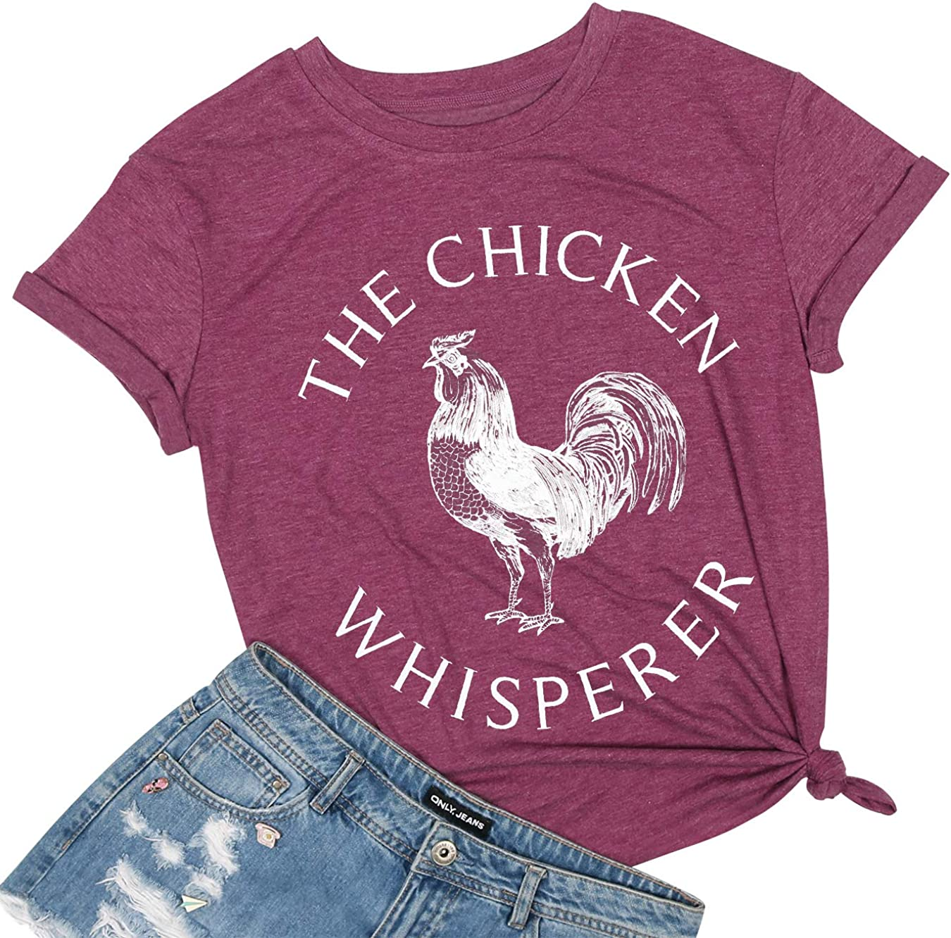 The Chicken Whisperer Shirt Funny Cute Chicken Graphic Tees Women Letter Print Short Sleeves Casual Tops T Shirts