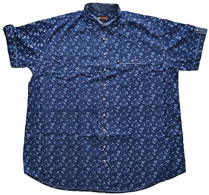 a1ddb43fbed3 KAMRO Übergrößen !!! Schickes Kurzarm Jeans Hemd Blau mit Print 3XL - 12XL   Amazon.de  Bekleidung