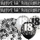 Unique BPWFA-4121 Glitz 18th Birthday Foil Banner Party Decoration Kit, Black