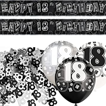 Black Silver Glitz 18th Birthday Banner Party Decoration Pack Kit Set By Happy Amazonde Spielzeug