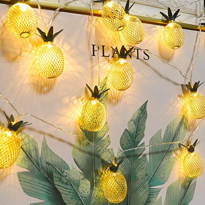 Whonline 2 Packs Pineapple String Lights 16ft 20 LED Battery Operated Fairy String Lights for Party and Home Festival Decoration (Warm White)