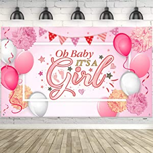 Blulu Baby Shower Party Backdrop Decorations, Large Durable Fabric Made Baby Shower Banner Backdrop Photo Booth Background for Boy's or Girl's Baby Shower Party Supplies (Girl Style)