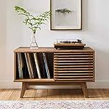 "Modway Render Mid-Century Modern 37"" Vinyl Record Display Stand in Walnut, 37 Inch"