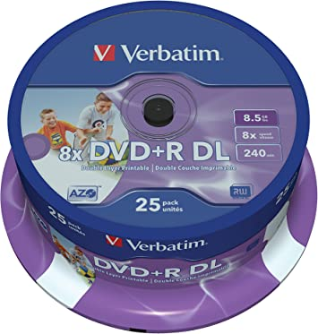 Verbatim 43667 8.5Gb 8X Double Layer Dvd+R Inkjet Printable 25 Pack Spindle