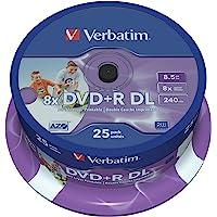 Verbatim DVD+R DL 8.5GB 25Pk White Wide IJ 8x