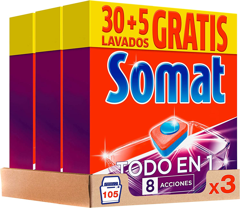 Somat Pastillas Detergente para Lavavajillas - Paquete de 3 x 630 gr, Total 1890 gr