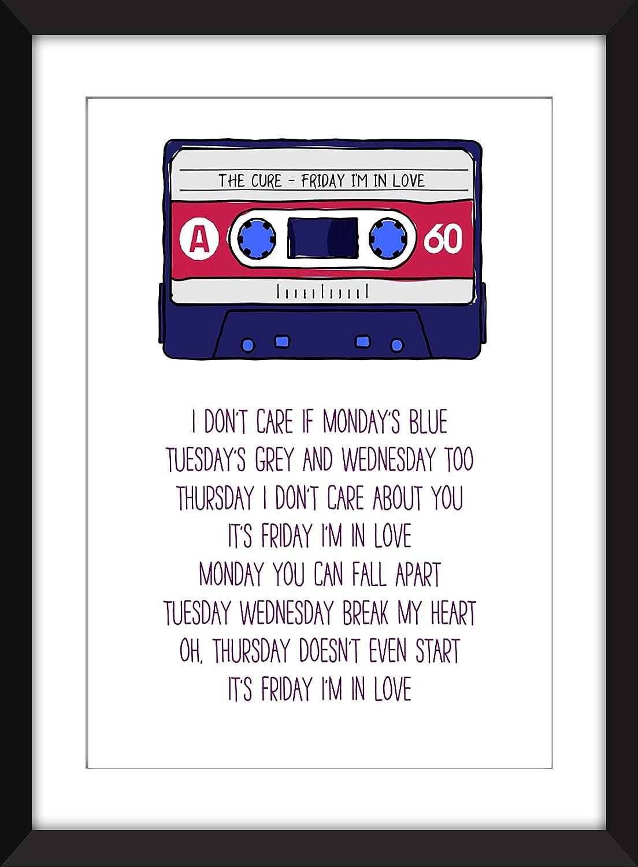 57662e003f0 The Cure Friday I m In Love Lyrics Unframed Print  Amazon.ca  Handmade