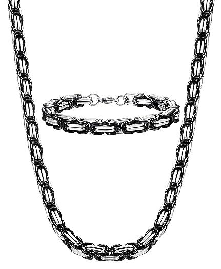 Jstyle 8mm Stainless Steel Mens Necklace Bracelet Set Byzantine