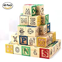 Okayji Wooden Alphabet Building Blocks Toys - ABC/123 Learning, Counting, Stacking Number Toddlers Children Cube Figure Blocks, 48- Pieces
