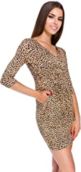 47bfe25fa1 Futuro Fashion Ladies Mini Dress Animal Zebra   Panther Patterns Womens V  Neck Wrap Tunic Sizes
