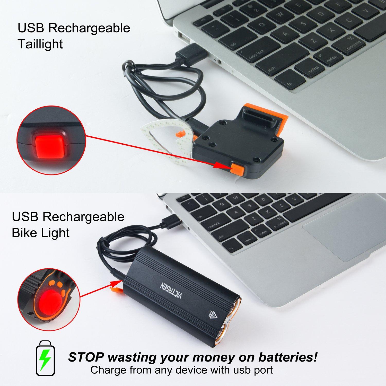 Victagen USB Rechargeable Bike Light Set Super Bright 2400 Lumens Rechargeable Bike Tail Light Helmet Light Easy to Mount Fit Mountain Bikes Waterproof Bike Headlight Taillight