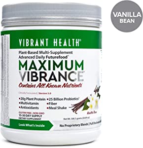 Vibrant Health - Maximum Vibrance, Plant-Based Meal Replacement Rich with Vitamins, Minerals, Antioxidants, and Protein, Gluten Free, Vegetarian, Non-GMO, Vanilla Bean, 15 Servings (FFP)
