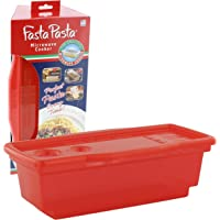 Microwave Pasta Cooker - The Original Fasta Pasta (Red) - No Mess, Sticking or Waiting for Boil - Container, Lid…