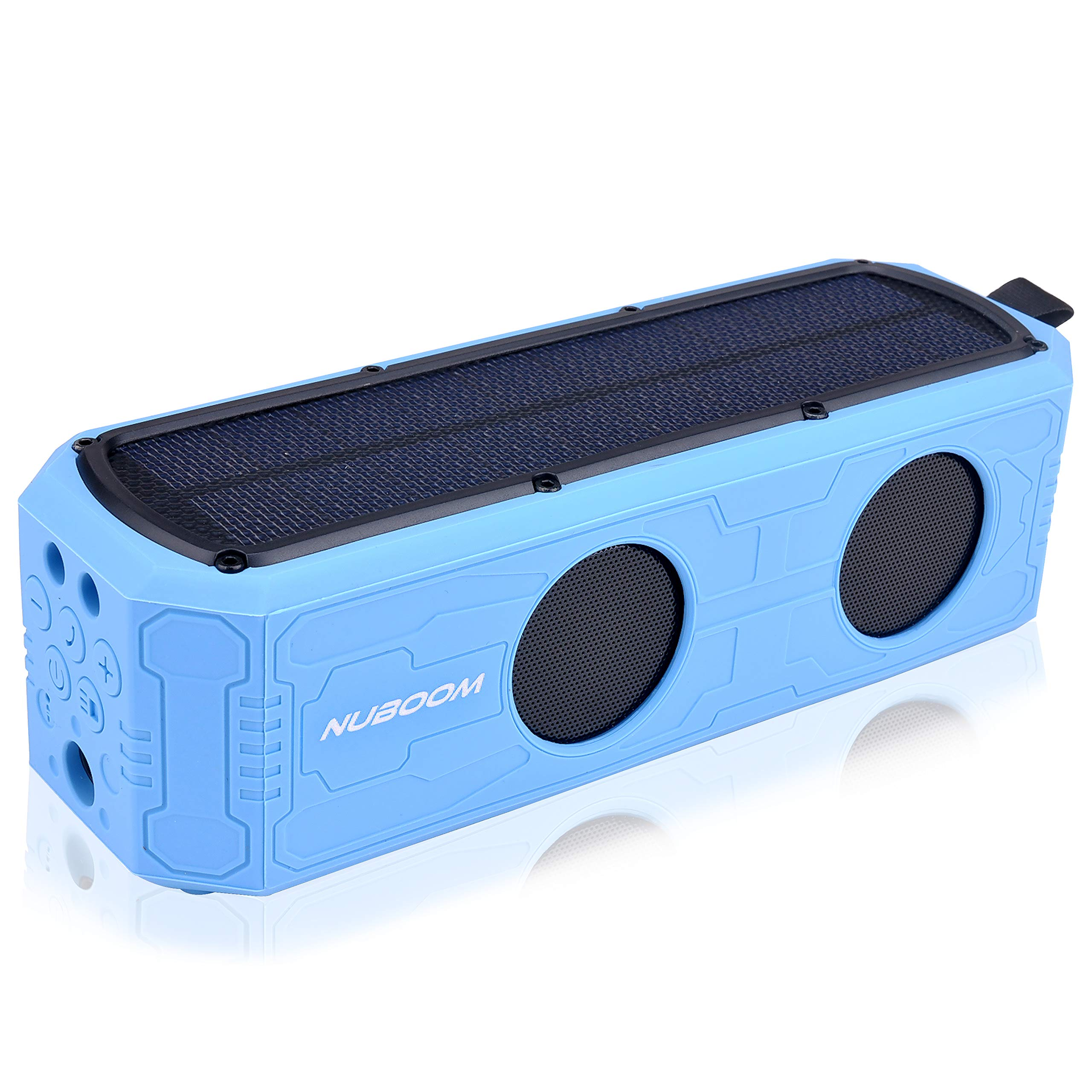 Solar Power Bluetooth Speaker Nuboom Outdoor w. 55+ Hours Playtime, 10W Stereo Subwoofer Bass 4400mAh Power Bank MicroUSB/Solar Charged IPX5 Splashproof and Bluetooth 4.0 Connection (Skylight Blue) by NUNET